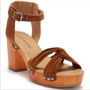 Lucky Brand Leather, Wooden Heel Sandals.